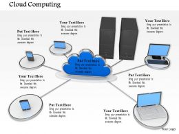 0814 Cloud Connected With Server Laptop And Mobiles To Show Data Transfer Image Graphics For Powerpoint