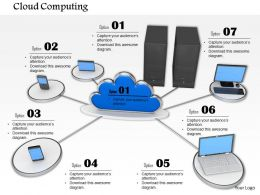 0814 Cloud In Centre Connected With Multiple Devices Image Graphics For Powerpoint