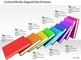 0814 Colored Books Aligned Like Dominoes Image Graphics For Powerpoint
