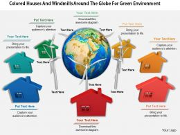 0814 Colored Houses And Windmills Around The Globe For Green Environment Image Graphics For Powerpoint