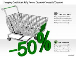 0814 Concept Of Fifty Percent Discount With Shopping Cart Image Graphics For Powerpoint