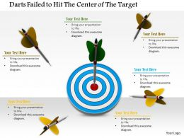 0814 Darts Failed To Hit The Center Of The Target With One On The Bulls Eye Image Graphics For Powerpoint