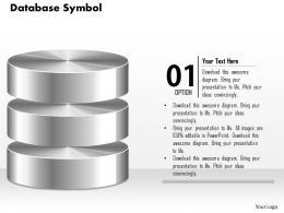 0814 Database Symbol Icon Shown By Silver Cylinders To Represent Persistent Storage Ppt Slides