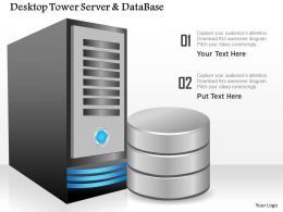 0814 Desktop Tower Server And Database By The Side Showing Compute And Storage Ppt Slides