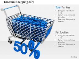 0814 Discount Of Fifty Percent With Shopping Cart Shows Sales And Marketing Image Graphics For Powerpoint