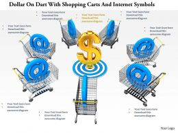 0814 Dollar On Dart With Shopping Carts And Internet Symbols Image Graphics For Powerpoint