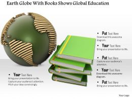 0814 Earth Globe With Books Shows Global Education Image Graphics For Powerpoint