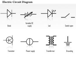 0814 Electric Circuit Diagrams Diode Led Transistor Transformer Icons Grounding Variable DC Supply Ppt Slides