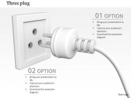 0814 Electrical White Plug With Three Pin Socket Technology Diagram Image Graphics For Powerpoint