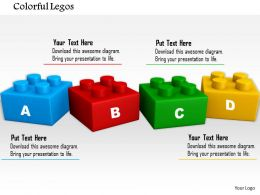 0814 Four Colored Lego Blocks With Alphabets Image Graphics For Powerpoint
