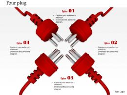 0814 Four Red Plugs With Team Unity Image Graphics For Powerpoint