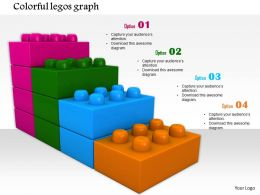 0814 Four Staged Bar Graph Made By Colored Lego Blocks For Growth Image Graphics For Powerpoint