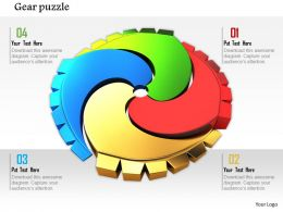 0814 Gear Puzzle With Multicolor For Process Control And Teamwork Image Graphics For Powerpoint