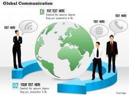 0814 Global Communication With Globe In The Middle And Customers With Mobile Devices Ppt Slides
