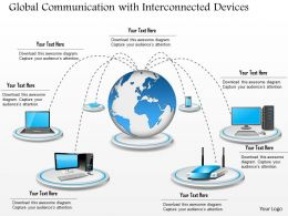 0814 Global Communication With Interconnected Devices Connected To A Centralized Cloud Ppt Slides