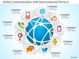 0814 Global Communication With Interconnected Devices Surrounding The Earth Globe Ppt Slides