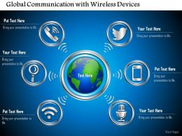 0814 Global Communication With Wireless Devices Connected To The Cloud Shown By The Globe Ppt Slides