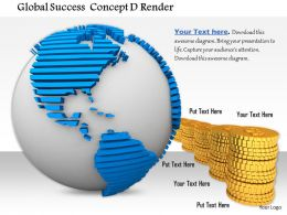 0814 Global Success Concept Globe With Golden Coins Graphic For Powerpoint