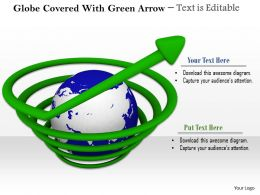 0814 Globe Covered With Green Arrow Image Graphics For Powerpoint
