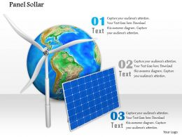 0814 Globe Solar Panel Windmill For Global Energy Conceptual Image Graphics For Powerpoint