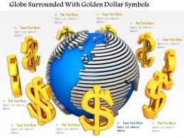 0814 Globe Surrounded With Golden Dollar Symbols Image Graphics For Powerpoint