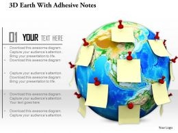 0814 Globe With Adhesive Notes Global Concept Image Graphic For Powerpoint