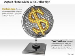 0814 Globe With Dollar Sign On Stand Shows Finance And Currency Image Graphics For Powerpoint