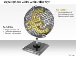 0814 Globe With Euro Symbol Shows Business And Finance Image Graphics For Powerpoint
