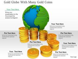 0814 Globe With Gold Coins Powerpoint Template Graphics For Powerpoint