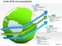 0814 Globe With Growth Arrows In Different Colors Shows Business Image Graphics For Powerpoint