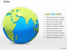 0814 Globe With India On Map Shows Business And Marketing Concepts Image Graphics For Powerpoint