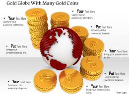 0814 Globe With Many Gold Coins For Global Finance Graphics For Powerpoint