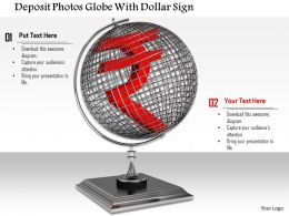 0814 Globe With Rupee Symbol For Business And Finance Image Graphics For Powerpoint