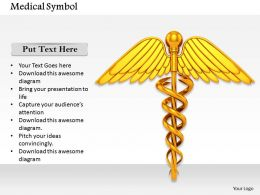 0814 Golden Colored Medical Symbol For Health Image Graphics For Powerpoint
