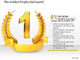 0814 Golden Laurel Trophy Design For Number One Position Image Graphics For Powerpoint