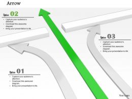 0814 green arrow passes through and white arrows bended shows leadership Image Graphics for PowerPoint