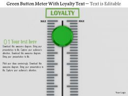 0814 Green Button Meter With Loyalty Text Image Graphics For Powerpoint