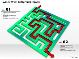 0814 Green Maze With Red Arrow To Show Solution Path Image Graphics For Powerpoint