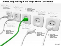 0814 Green Plug Among White Plugs Shows Leadership Image Graphics For Powerpoint