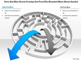 0814 Grey And Blue Arrow Coming Out From The Rounded Maze Shows Symbol Image Graphics For Powerpoint