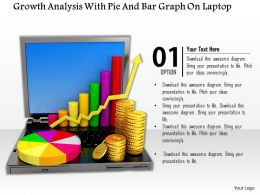 0814 Growth Analysis With Pie And Bar Graph On Laptop Image Graphics For Powerpoint