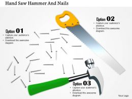 0814 Handsaw With Nails And Hammer For Repair Image Graphics For Powerpoint