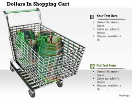0814 Hundred Dollar Bundles In Shopping Cart Image Graphics For Powerpoint