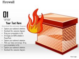 0814 Icon Of A Firewall To Separate The Internal Network From The External World Ppt Slides
