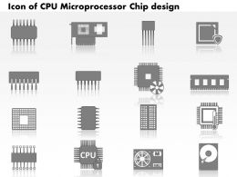 0814 Icons Of CPU Microprocessor Chip Design With Electronic Components Motherboard GPU Ppt Slides