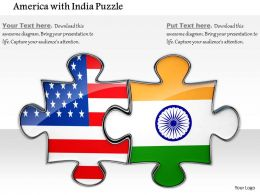 0814 Indian And American Connection Shown By Puzzles Image Graphics For Powerpoint