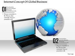 0814 Internet Concept Of Global Business With Graphic Of Laptop And Globe Graphics For Powerpoint