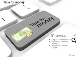 0814 Key With Time For Money Text In Keyboard Image Graphics For Powerpoint