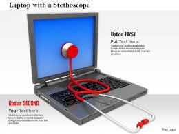0814 Laptop With Red Stethoscope For Technology And Health Theme Image Graphics For Powerpoint