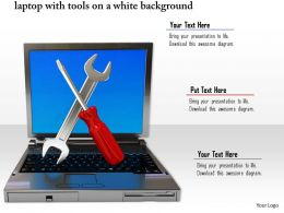 0814 Laptop With Tools On White Background For Repairer And Services Graphics For Powerpoint